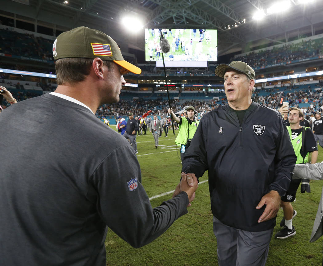 Miami Dolphins head coach Adam Gase, left, greets Oakland Raiders head coach Jack Del Rio at the end of an NFL football game, Sunday, Nov. 5, 2017, in Miami Gardens, Fla. (AP Photo/Wilfredo Lee)