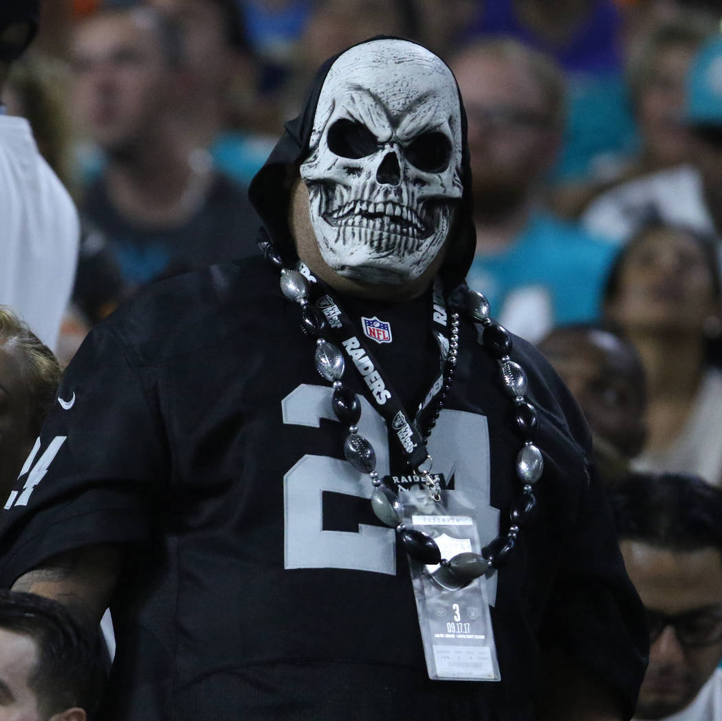 An Oakland Raiders fan during the first half of the NFL game against the Miami Dolphins in Miami Gardens, Fla., Sunday, Nov. 5, 2017. Heidi Fang Las Vegas Review-Journal @HeidiFang