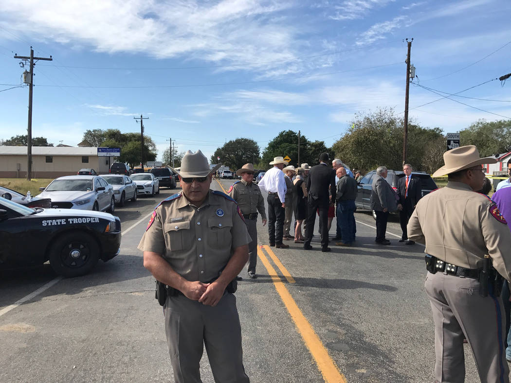 Texas Department of Public Safety troopers, federal agents and local officials near the church massacre crime scene in Sutherland Springs. Photo by Gary Martin