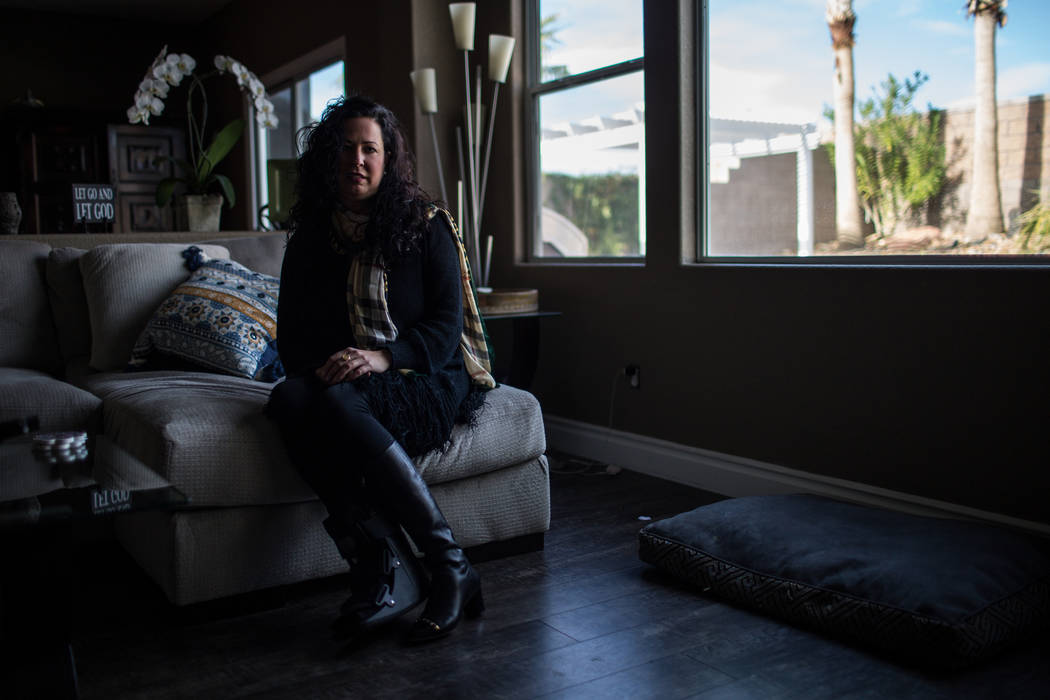 Lorisa Loy, a nurse at Sunrise Hospital and Medical Center, in her home in Henderson, Monday, Oct. 30, 2017. Loy attended the Route 91 Harvest Festival and spent the night helping transport victim ...