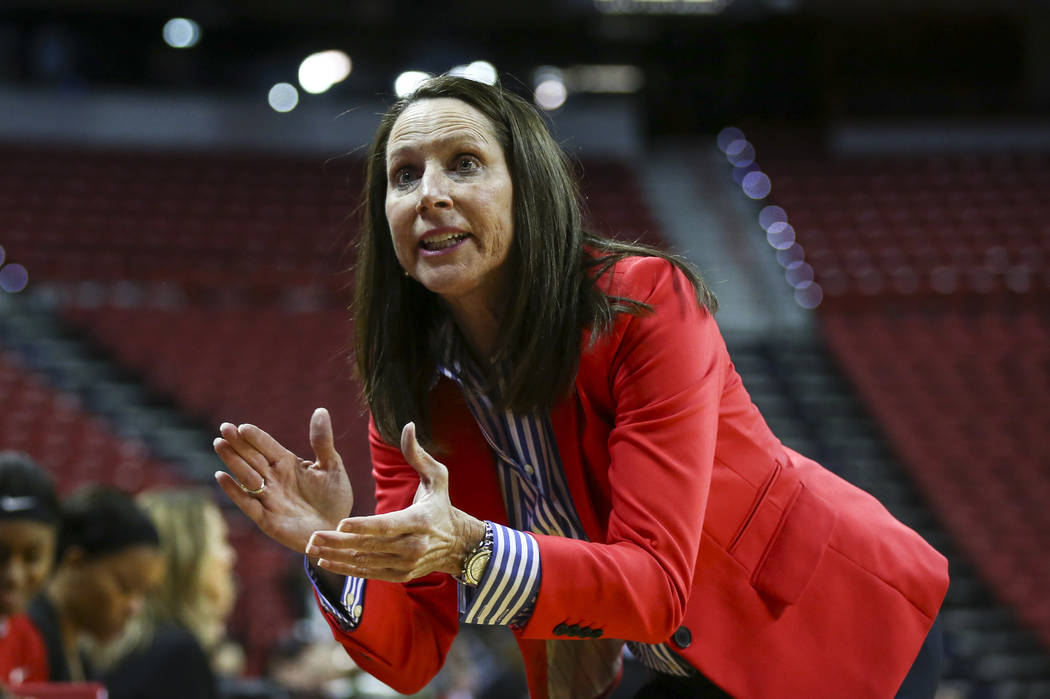 UNLV head coach Kathy Olivier talks with her team during a basketball game against Wyoming at the Thomas & Mack Center in Las Vegas on Wednesday, Jan. 25, 2017. (Chase Stevens/Las Vegas Review ...