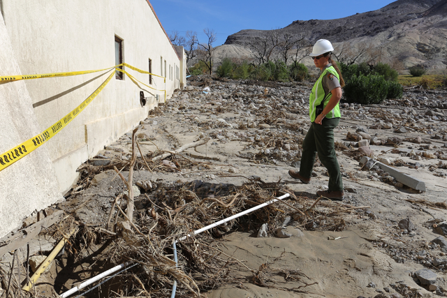 Death Valley National Park staff member Abby Wines gives journalists a tour of the flood damage at Scotty's Castle on Oct. 24, 2015. Las Vegas Review-Journal file photo