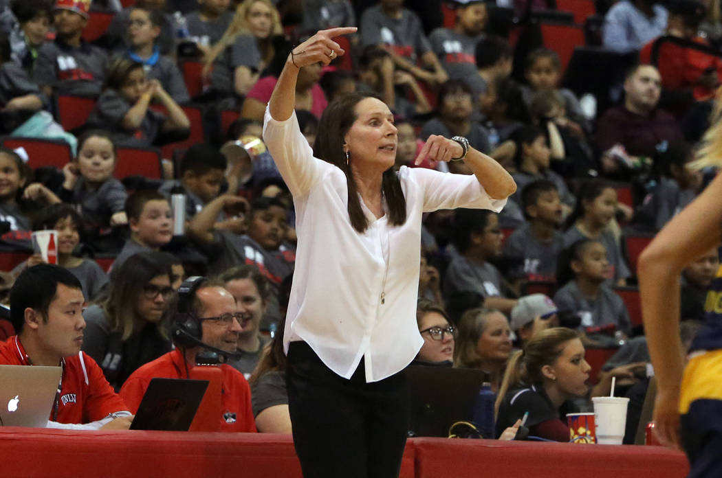 UNLV women's basketball head coach Kathy Olivier directs her players as they play against UC Irvine Anteaters at the Cox Pavilion on Tuesday, Nov. 14, 2017, in Las Vegas. UNLV won 73-54. Bizuayehu ...