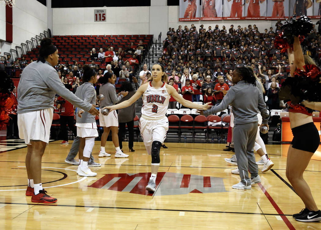 UNLV women's basketball guard Brooke Johnson introduced before playing against UC Irvine Anteaters at the Cox Pavilion on Tuesday, Nov. 14, 2017, in Las Vegas. UNLV won 73-54. Bizuayehu Tesfaye/La ...