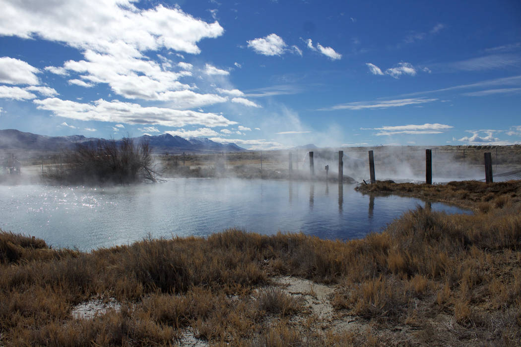 Steam rises from Great Boiling Spring, an almost-200-degree natural pool on private land about 500 miles northwest of Las Vegas. (UNLV)