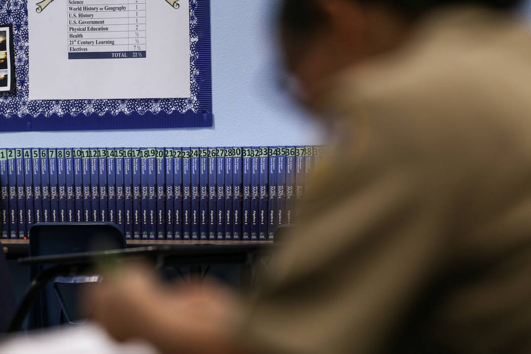 Math books are lined up against a wall as students work on assignments at Centennial High School in Las Vegas, Thursday, Nov. 9, 2017. Joel Angel Juarez Las Vegas Review-Journal @jajuarezphoto
