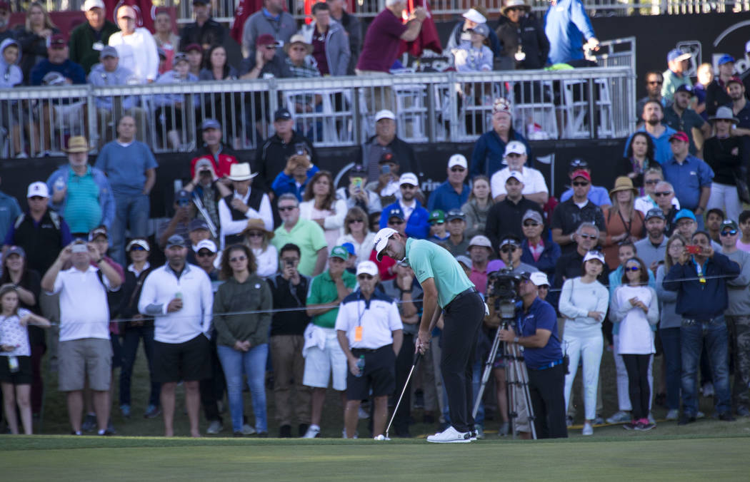 Patrick Cantlay of California putts on the 18th green during the first playoff hole of the Shriners Hospitals For Children Open at TPC at Summerlin in Las Vegas, Sunday, Nov. 5, 2017. Richard Bria ...