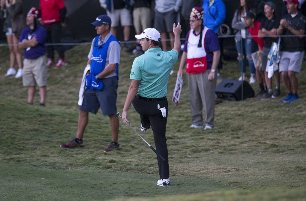 Patrick Cantlay of California reacts to his putt on the 18th green during the second playoff hole of the Shriners Hospitals For Children Open at TPC at Summerlin in Las Vegas, Sunday, Nov. 5, 2017 ...