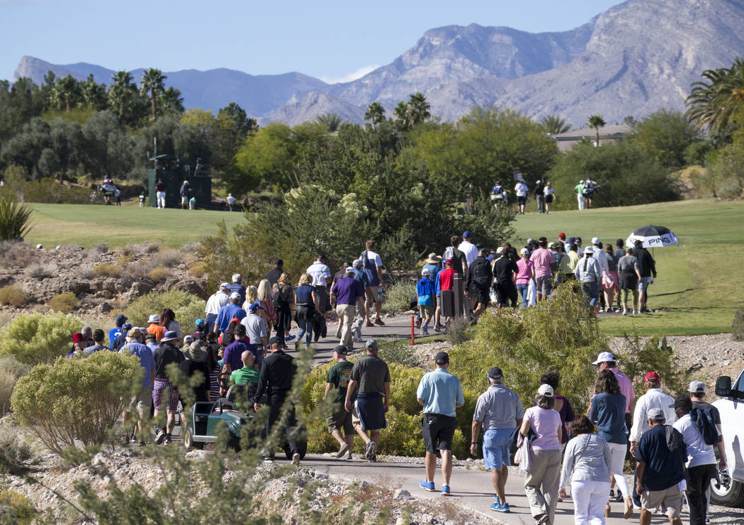Spectators walk to the sixth hole green during the final round of the Shriners Hospitals For Children Open at TPC at Summerlin in Las Vegas, Sunday, Nov. 5, 2017. Richard Brian Las Vegas Review-Jo ...