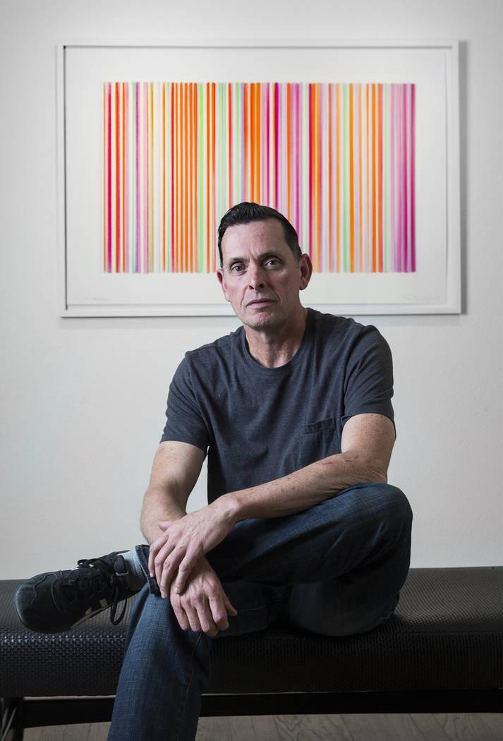 "English contemporary painter Tim Bavington at his new ""Sounds of Silence"" exhibit on Wednesday, Nov. 8, 2017, in Las Vegas. Benjamin Hager Las Vegas Review-Journal @benjaminhphoto"