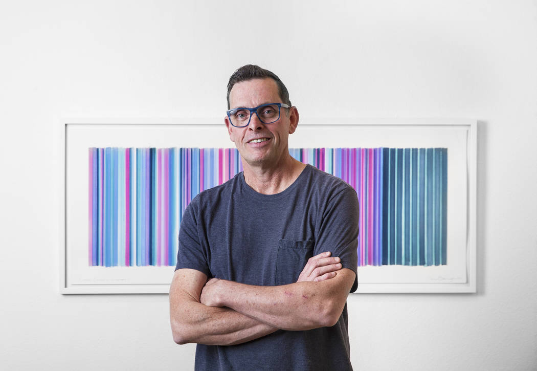 "English contemporary painter Tim Bavington at his new ""Sounds of Silence"" exhibit on Wednesday, Nov. 8, 2017, in Las Vegas. Benjamin Hager Las Vegas Review-Journal @benjaminhphoto"