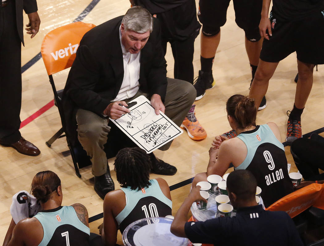 In this Sunday, July 2, 2017 photo, New York Liberty head coach Bill Laimbeer draws up a play during the Atlanta Dream's 81-72 win over the Liberty in McCamish Pavilion, in Atlanta. Post players a ...