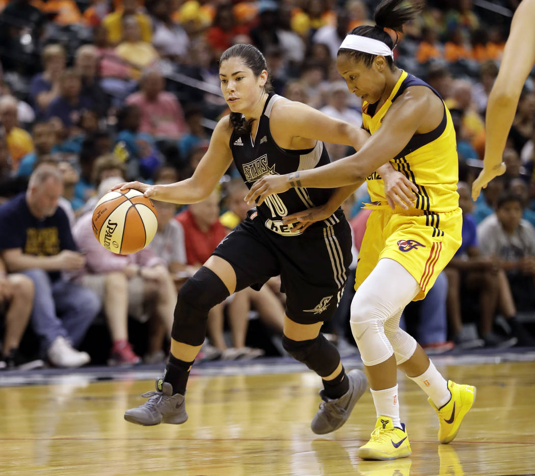 San Antonio Stars' Kelsey Plum goes to the basket against Indiana Fever's Briann January during the first half of a WNBA basketball game, Wednesday, July 12, 2017, in Indianapolis. (AP Photo/Darro ...