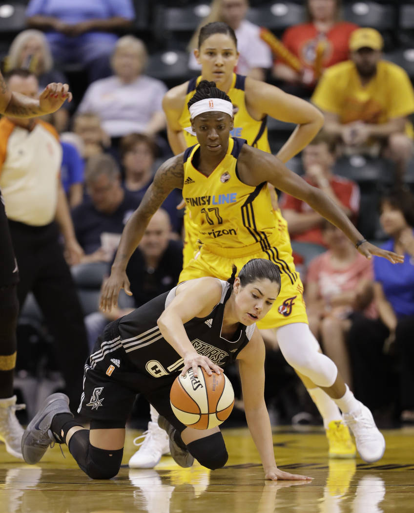 San Antonio Stars' Kelsey Plum controls her dribble while being defended by Indiana Fever's Erica Wheeler during the second half of a WNBA basketball game, Wednesday, July 12, 2017, in Indianapoli ...