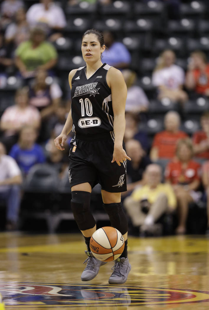 San Antonio Stars' Kelsey Plum (10) in action during the first half of a WNBA basketball game against the Indiana Fever, Wednesday, July 12, 2017, in Indianapolis. (AP Photo/Darron Cummings)