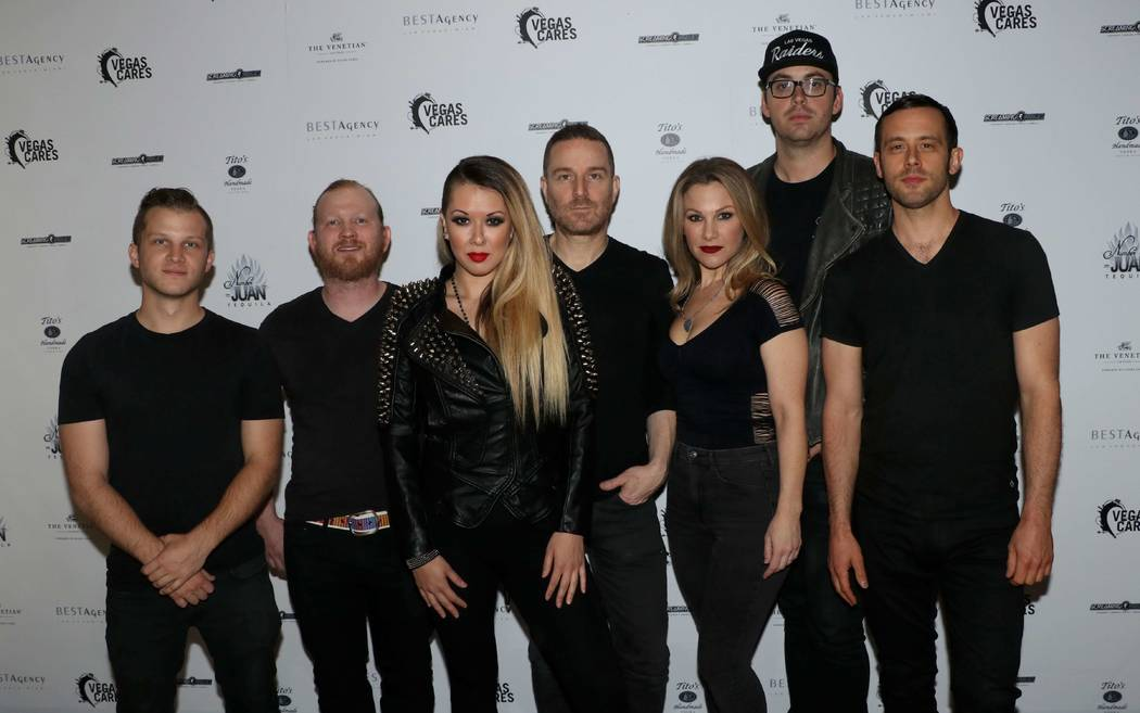 "Rockie Brown is shown with her band at ""Vegas Cares"" at The Venetian Theatre on Nov. 5, 2017. From left: Jon Wozniak,Toby Ashmore, Rockie Brown, Jason Tanzer, Natalie Brown, Mark Corbin and Sam Le ..."