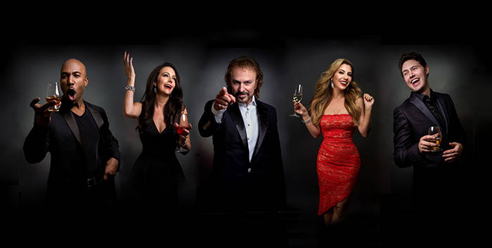 """The cast of """"The Cocktail Cabaret,"""" from left: Eric Jordan Young, Niki Scalera, Philip Fortenberry, Maren Wade and Daniel Emmet. The show opens Nov. 30 at Cleopatra's Barge at Caesars Palace. (Kil ..."""