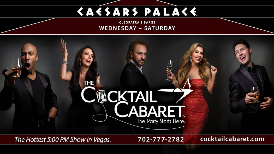 """The cast of """"The Cocktail Cabaret,"""" from left: Eric Jordan Young, Niki Scalera, Philip Fortenberry, Maren Wade and Daniel Emmet. The show opens Nov. 30 at Cleopatra's Barge at Caesars Palace. (Cae ..."""