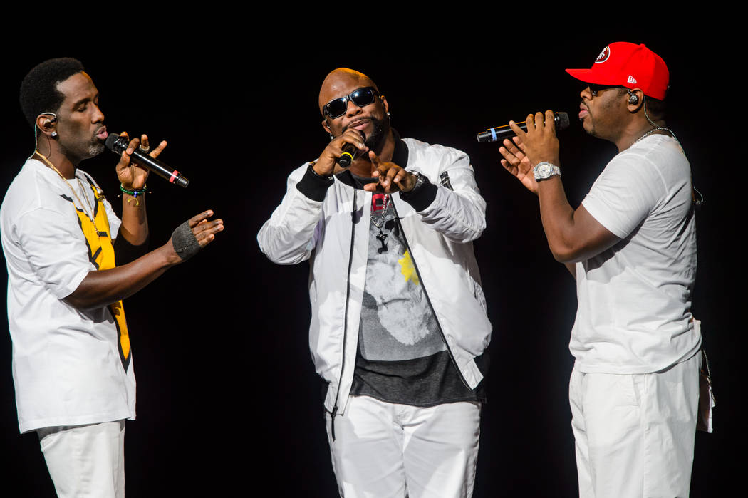 The Mirage headliners Boyz II Men perform at T-Mobile Arena on Sunday, May 28, 2017, in Las Vegas. (Brenton Ho/Powers Imagery for T-Mobile Arena)