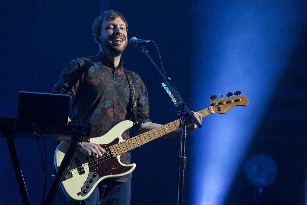 Ben McKee of Imagine Dragons plays during the band's show at T-Mobile Arena in Las Vegas, Friday, Sept. 29, 2017. The show was in part of their Evolve Tour in support of their third studio album E ...