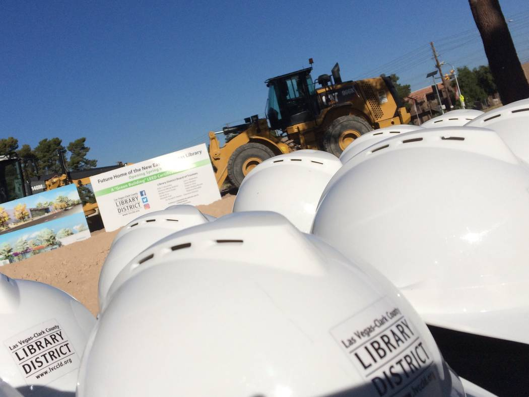 Hard hats are lined up Nov. 2, 2017, for the groundbreaking of a proposed library. East Las Vegas Library will be built where there was once government housing. (Jan Hogan/Viw)