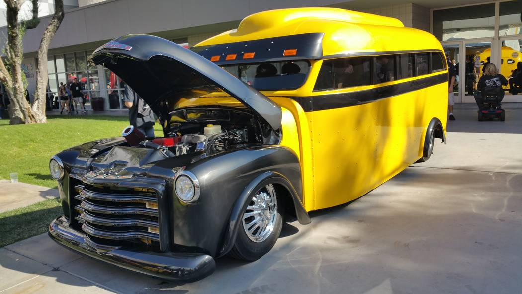 Stan Hanel A chopped school bus was on display in the outer courtyard of the Las Vegas Convention Center during the SEMA trade show.