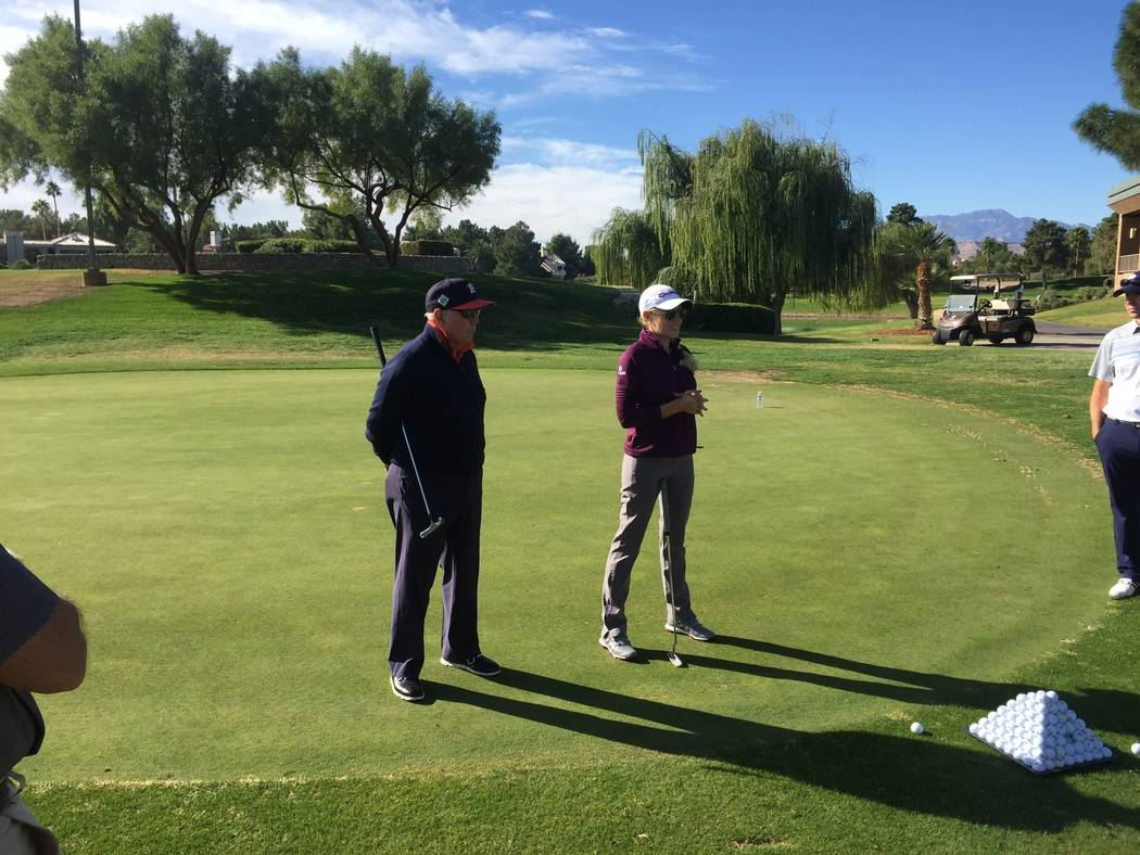 "Butch Harmon hosted a putting clinic during the Natalie Gulbis Charity Classic at Spanish Trail Golf and Country Club on Tuesday. Among his tips were to not grip the putter too hard, ""never more t ..."