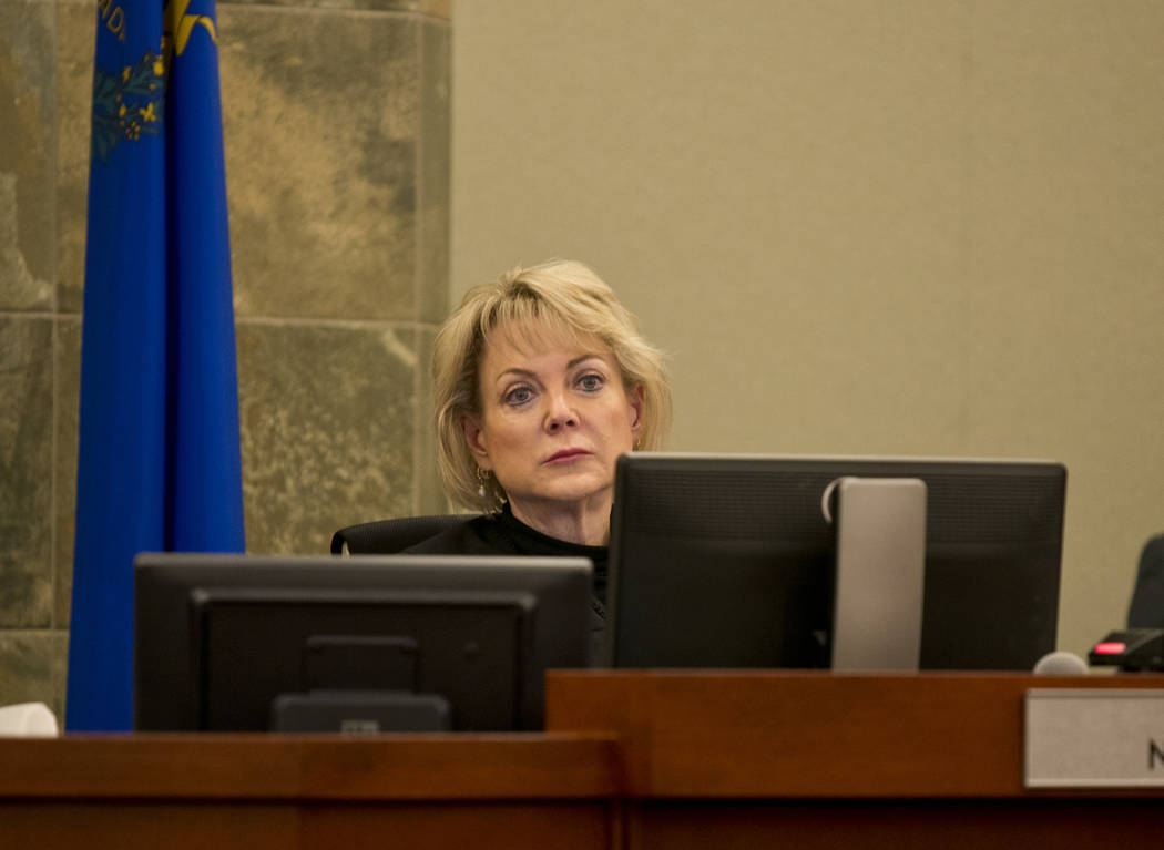Judge Nancy L. Allf listens to arguments during court proceedings regarding a lawsuit filed on behalf of a 4-year-old HIV-positive girl seeking to reopen a UNLV based HIV treatment program at the  ...