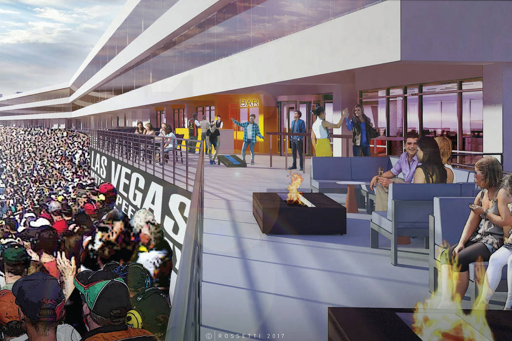 A rendering of Las Vegas Motor Speedway's planned interactive sports lounge. Photo by Las Vegas Motor Speedway.