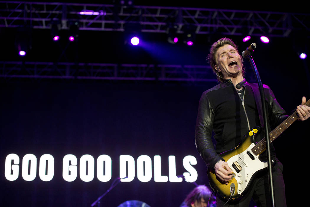 John Rezeznik of the Goo Goo Dolls performs after the 5K portion of the Rock ԮՠRoll Las Vegas Marathon at the Las Vegas Festival Grounds on The Strip on Saturday, Nov. 11, 2017. Daniel ...