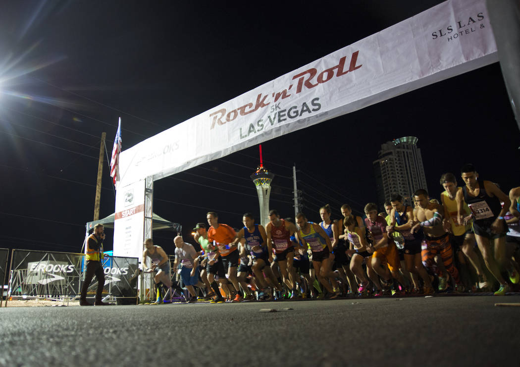 Runners begin their race during the 5K portion of the Rock ԮՠRoll Las Vegas Marathon at the Las Vegas Festival Grounds on The Strip on Saturday, Nov. 11, 2017. Daniel Clark/Las Vegas R ...