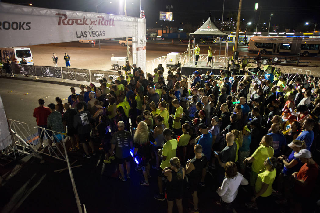 Runners prepare to compete during the 5K portion of the Rock ԮՠRoll Las Vegas Marathon at the Las Vegas Festival Grounds on The Strip on Saturday, Nov. 11, 2017. Daniel Clark/Las Vegas ...