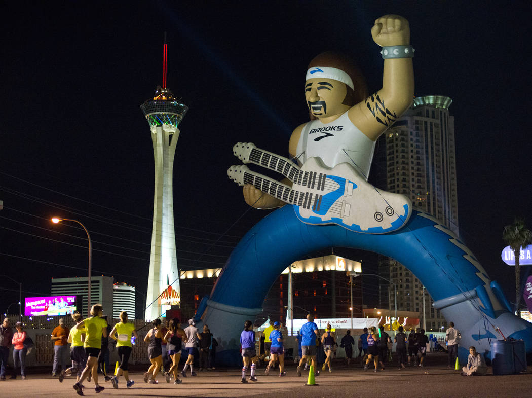 Runners compete during the 5K portion of the Rock ԮՠRoll Las Vegas Marathon at the Las Vegas Festival Grounds on The Strip on Saturday, Nov. 11, 2017. Daniel Clark/Las Vegas Review-Journal