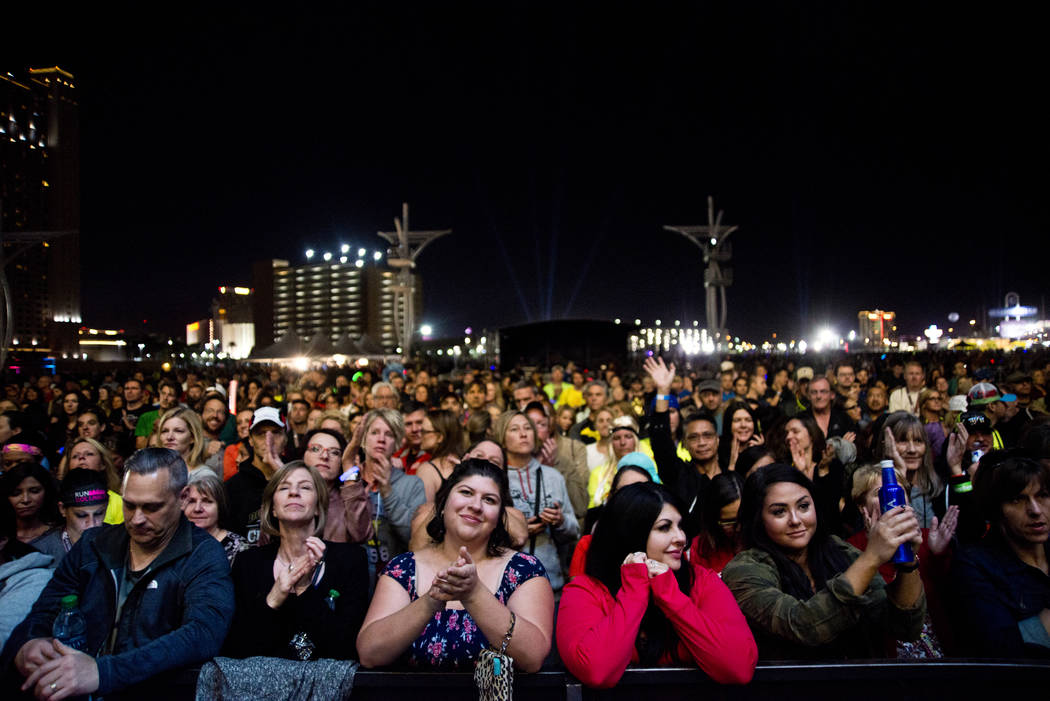The crowd waits for the Goo Goo Dolls to perform after the 5K portion of the Rock ԮՠRoll Las Vegas Marathon at the Las Vegas Festival Grounds on The Strip on Saturday, Nov. 11, 2017. D ...