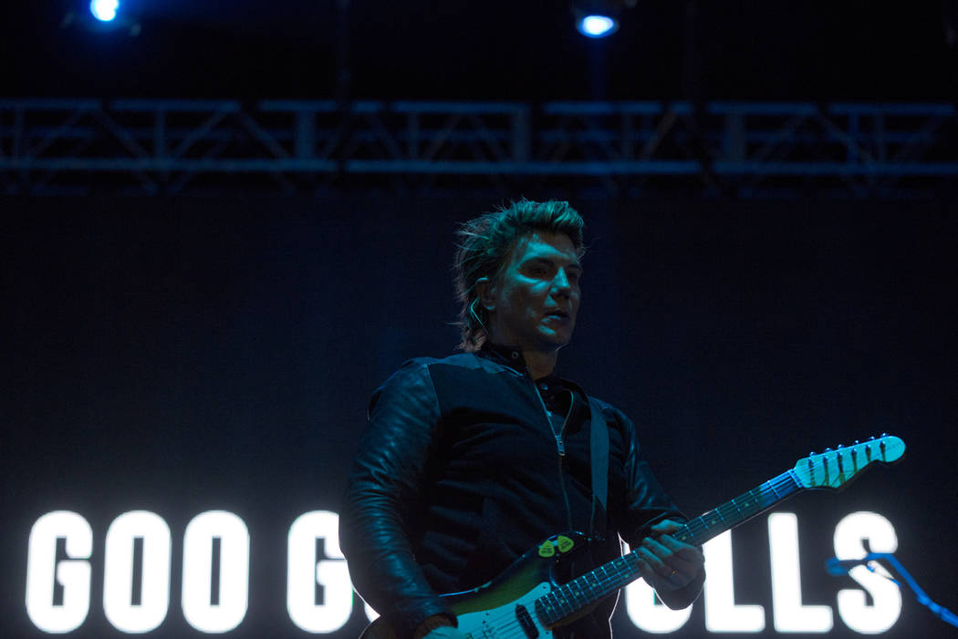 John Rezeznik of the Goo Goo Dolls performs after the 5K portion of the Rock 'n' Roll Las Vegas Marathon at the Las Vegas Festival Grounds on The Strip on Saturday, Nov. 11, 2017. Da ...