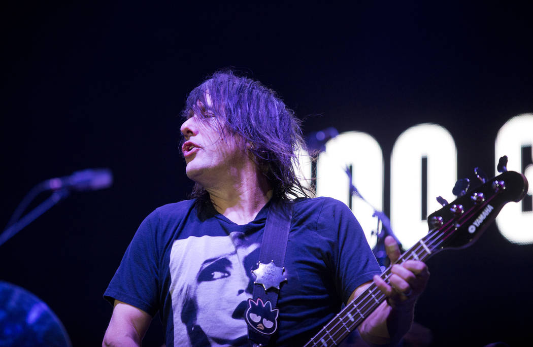 Robby Takac of the Goo Goo Dolls performs after the 5K portion of the Rock ԮՠRoll Las Vegas Marathon at the Las Vegas Festival Grounds on The Strip on Saturday, Nov. 11, 2017. Daniel C ...