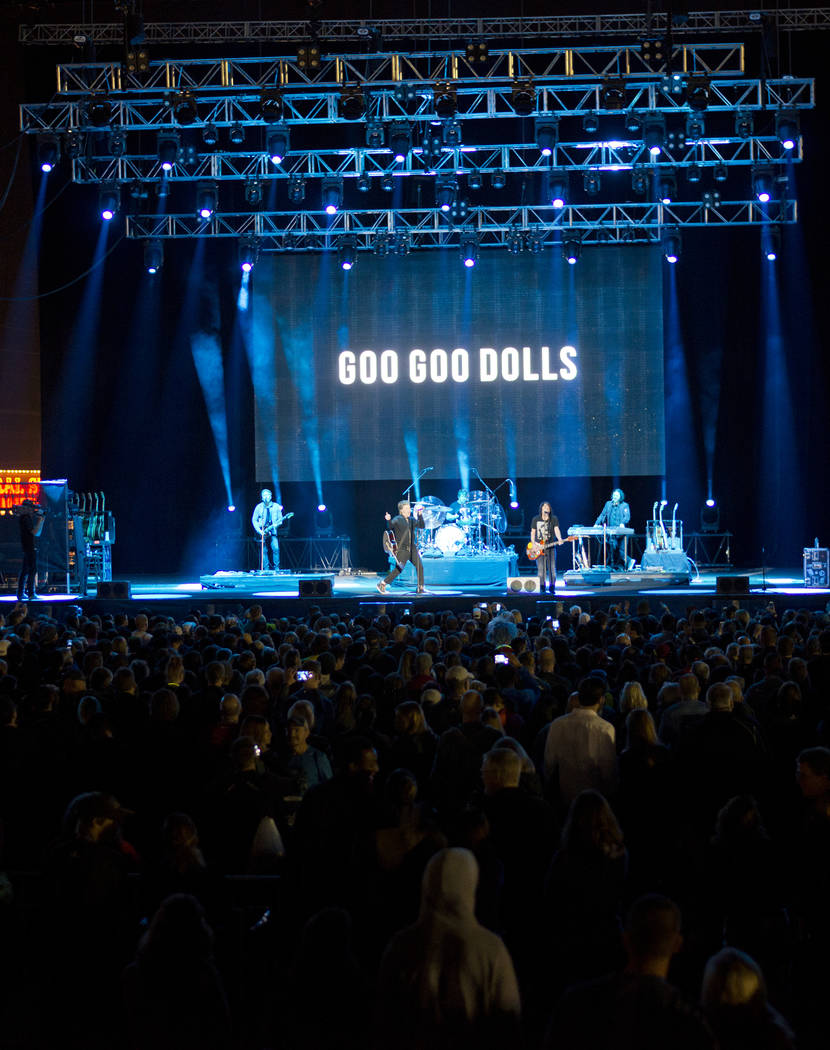 The Goo Goo Dolls perform after the 5K portion of the Rock ԮՠRoll Las Vegas Marathon at the Las Vegas Festival Grounds on The Strip on Saturday, Nov. 11, 2017. Daniel Clark/Las Vegas R ...