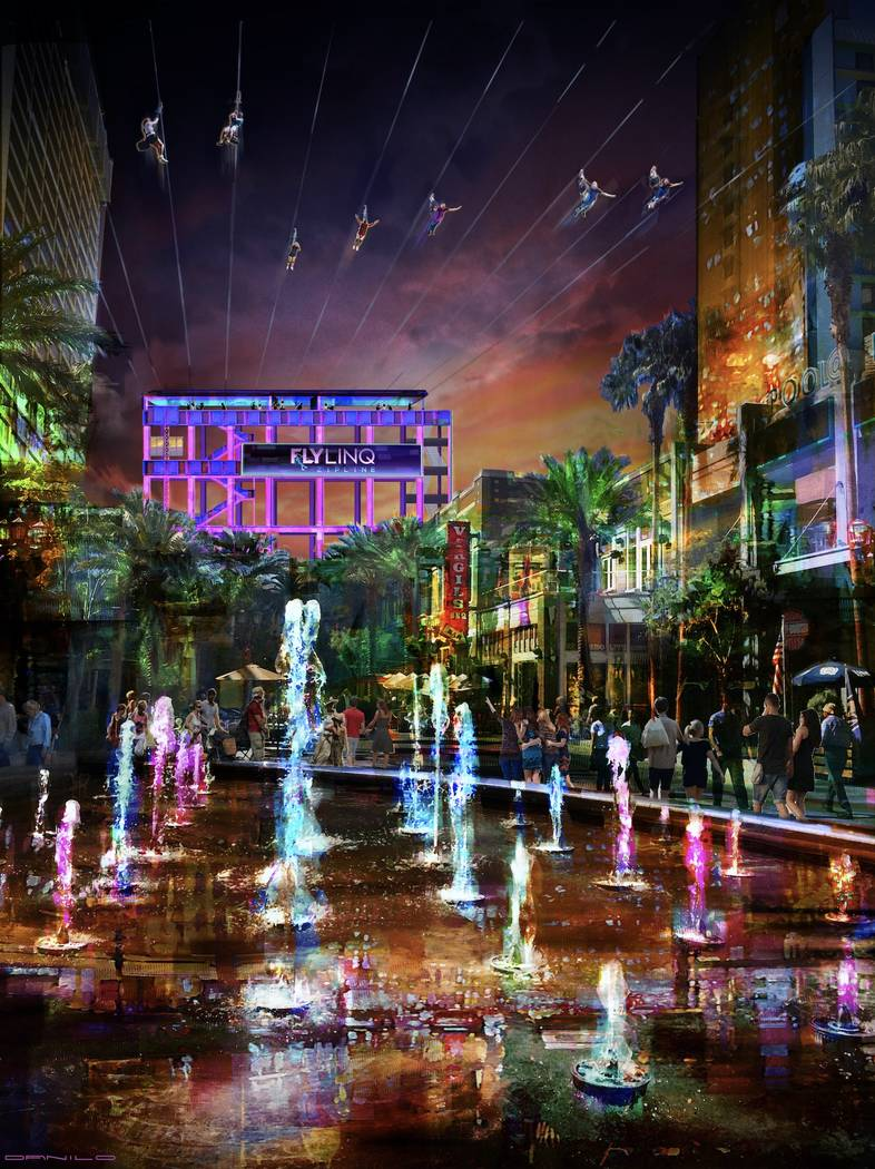 The Fly Linq zip line will feature 10 side-by-side lines that can launch all riers at once at The Linq Promenade shopping center. (Contributed rendering)