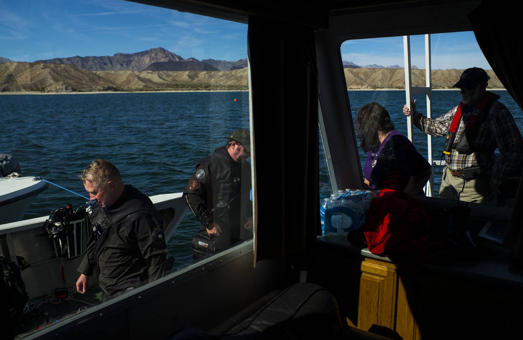 Daniel Conlin, chief of the National Park Serviceճ Submerged Resources Center, left, after a submerged resource monitoring demonstration that was live streamed at Lake Mohave in the Lake Mea ...