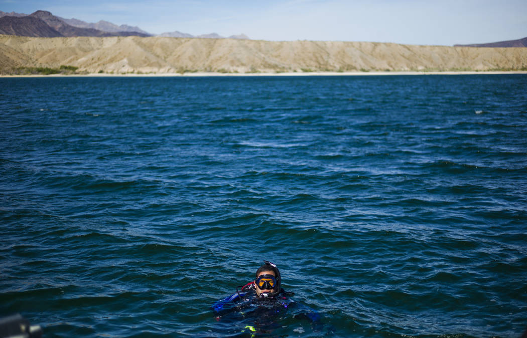 Coast Guard veteran Kris Moorehead, a member of WAVES, or Wounded American Veterans Experience Scuba, a nonprofit group that promotes scuba diving for disabled veterans, prepares for a submerged r ...