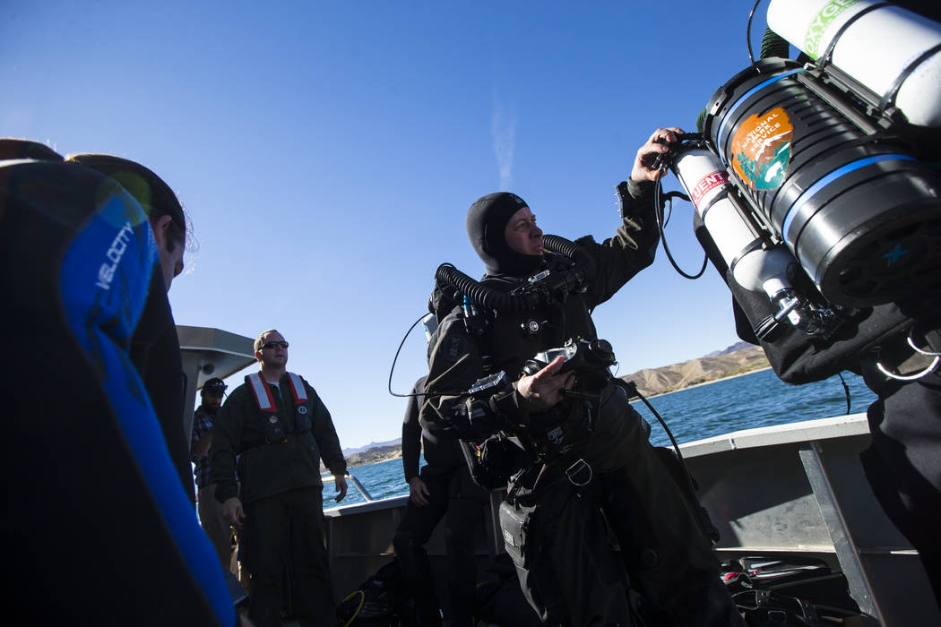 Daniel Conlin, chief of the National Park Serviceճ Submerged Resources Center, gets ready for a submerged resource monitoring demonstration at Lake Mohave in the Lake Mead National Recreatio ...