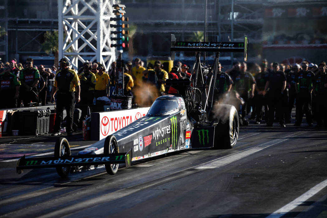 Brittany Force takes off during a race at the NHRA Toyota Nationals at The Strip at Las Vegas Motor Speedway in Las Vegas, Sunday, Oct. 29, 2017. Joel Angel Juarez Las Vegas Review-Journal @jajuar ...