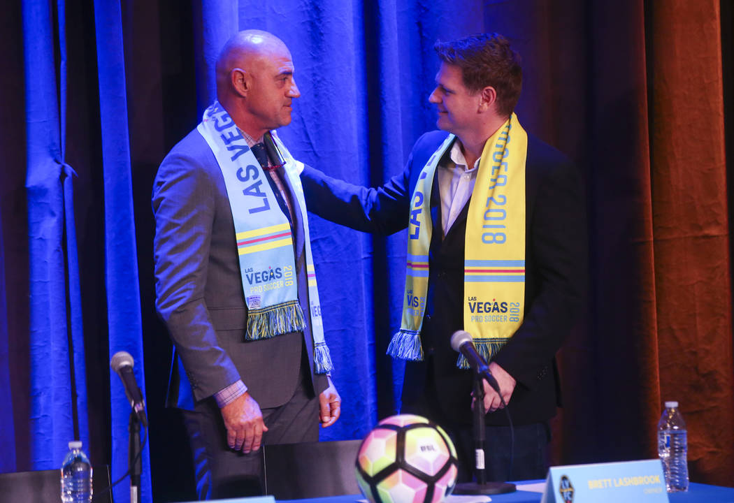 Jose Luis Sanchez Sola, also known as as Chelis, is introduced as coach by Las Vegas Lights FC owner Brett Lashbrook at Inspire Theater in downtown Las Vegas on Tuesday, Nov. 14, 2017. The new tea ...