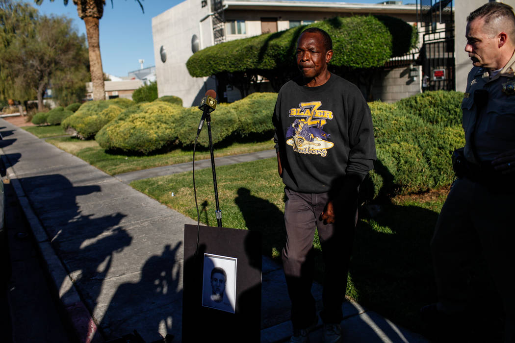 Larry Winslow, husband of Shelia Hawkins who was severely beaten on Nov. 1, speaks during a Metropolitan Police Department media briefing at the corner of 11th Street and Bridger Avenue in Las Veg ...