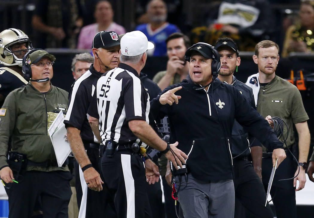 New Orleans Saints head coach Sean Payton yells on the field after a personal foul in the second half of an NFL football game against the Tampa Bay Buccaneers in New Orleans, Sunday, Nov. 5, 2017. ...