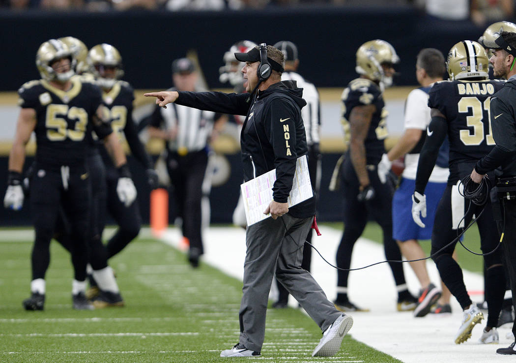 New Orleans Saints head coach Sean Payton calls out from the sideline in the first half of an NFL football game against the Tampa Bay Buccaneers in New Orleans, Sunday, Nov. 5, 2017. (AP Photo/Bil ...
