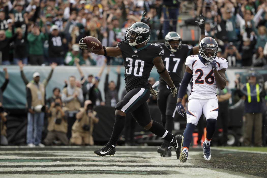 Philadelphia Eagles' Corey Clement runs the ball in to score a touchdown during the first half of an NFL football game against the Denver Broncos, Sunday, Nov. 5, 2017, in Philadelphia. (AP Photo/ ...