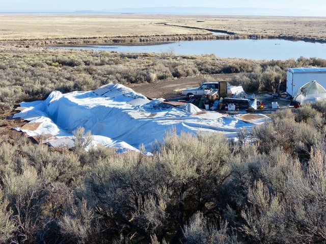 Vehicles, debris, and supplies remain Friday, Feb. 26, 2016, at what's left of Camp Finicum, the crude encampment used by the last four occupiers of the 41-day takeover of the Malheur National Wil ...