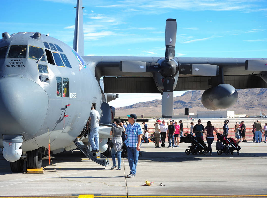 Air show goers tour an AC-130U during Aviation Nation 2017 at Nellis Air Force Base in Las Vegas on Friday, Nov. 10, 2017. Brett Le Blanc/Las Vegas Review-Journal