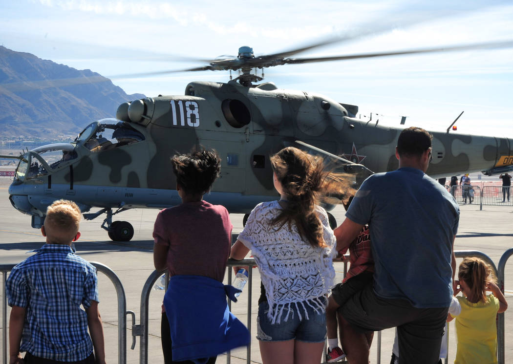Hair flies in the wind as a Mi-24 Hind taxis during Aviation Nation 2017 at Nellis Air Force Base in Las Vegas on Friday, Nov. 10, 2017. Brett Le Blanc/Las Vegas Review-Journal